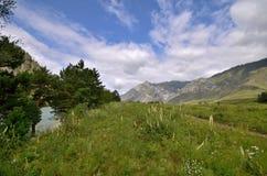 Katun河的看法以山为背景的 库存照片