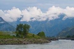 Katun河的谷 山Altai 免版税库存图片