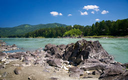 Katun river and mountains Royalty Free Stock Image