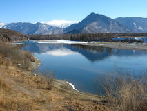 Katun River in the valley Uimon. Gorny Altai stock illustration