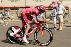 Katusha Zespala się konkurenta przy wysoką prędkością przy Giro 2017, Mediolan Fotografia Stock