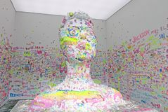 Katy Perry In Clay. Bliss, a large sculpture of Katy Perry by Artist Urs Fischer. It exhibits in a pop-up space at  Spring Street.NY. The public is invited to Stock Photography