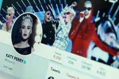 Katy Perry kvittrandekonto royaltyfria foton