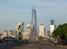 Katyn Memorial frames World Trade Center in Jersey City Royalty Free Stock Photos