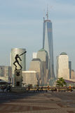 Katyn Memorial frames World Trade Center in Jersey City Stock Photography
