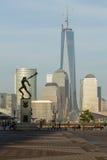 Katyn Memorial frames World Trade Center in Jersey City Stock Photography