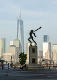 Katyn Memorial frames World Trade Center in Jersey City Royalty Free Stock Photo