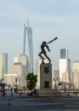 Katyn Memorial frames World Trade Center in Jersey City Royalty Free Stock Photo