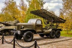 Katyusha för ` för raketgevär BM-13 för artilleri åtskillig ` på chassiet ZIL-157 Arkivfoto
