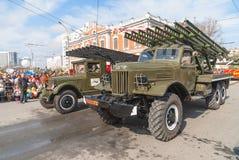 Katyusha veelvoudige raketlanceerders op parade royalty-vrije stock foto