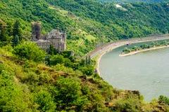 Katz Castle at Rhine Valley near St. Goarshausen, Germany Stock Photos