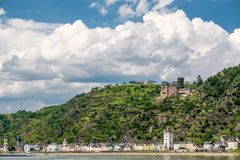 Katz Castle at Rhine Valley near St. Goarshausen, Germany. Katz Castle at Rhine Valley Rhine Gorge near St. Goarshausen, Germany. Built in 1371 and rebuilt in stock photography