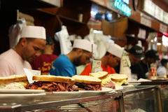Katz's Deli in New York. Workers prepare the famous Pastrami sandwiches at Katz's Deli in New York City Royalty Free Stock Images