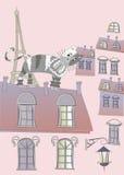 Katze auf einem Dach von Paris lizenzfreie abbildung