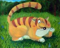 Katze auf einem Gras Lizenzfreie Stockfotos