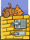 Katze auf Ofenkarikaturillustration Stockbilder