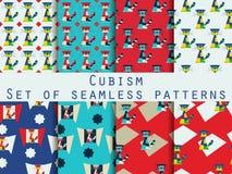 Katze in der kubistischen Art Moderne Kunst Set nahtlose Muster Lizenzfreie Stockfotos