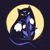 Katze der schwarzen Magie mit Schneeglöckchen im Hintergrund des Mondes Auch im corel abgehobenen Betrag Stockfotografie