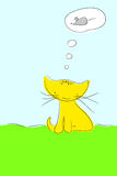Katze, die über Maus träumt Stockfoto