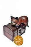 Katze, die auf einem Kasten sitzt Lizenzfreie Stockfotografie
