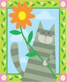 Katze, die Blume anhält Stockfotografie