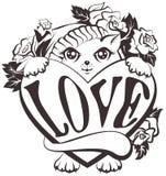 Katze, die ein Herz mit Liebe hält lizenzfreie abbildung