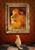 Katze, die ein Porträt eines Löwes in einem goldenen Rahmen betrachtet. Lizenzfreies Stockfoto