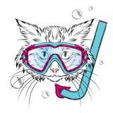 Katze, die eine Maske für das Tauchen trägt hippie Freizeit in Meer ferien schwimmer vektor abbildung