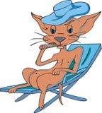 Katze, die eine Zigarre raucht Stockfoto