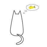 Katze, die an Fische denkt lizenzfreie abbildung