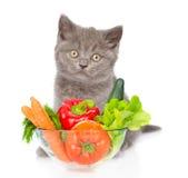 Katze, die mit einer Schüssel Gemüse sitzt Getrennt auf weißem Hintergrund Stockfotografie