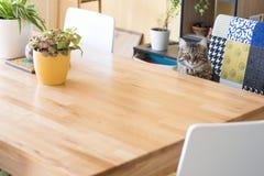 Katze, die am Tisch sitzt lizenzfreie stockfotografie