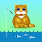 Katze - ein Fischer mit Angelrute Lizenzfreies Stockfoto