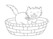 Katze in einem Korb, Schwarzweiss-Zeichnung Lizenzfreies Stockfoto
