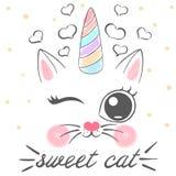Katze, Einhorn, caticorn Illustration Idee für Druckbaby, Mädchent-shirt stock abbildung