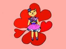 Katze im Kleid, Herzen Stockbild