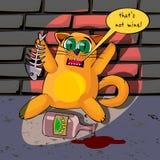 Katze im trinkenden Baldrian des Kellers Lizenzfreie Abbildung