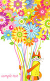 Katze mit einem Blumenstrauß von Blumen Lizenzfreies Stockbild
