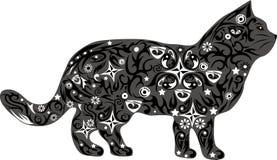 Katze mit einem Muster von den Linien und von den Blumen, ein Haustier mit Zeichnung, eine Illustration einer Katze, die geht, ei Stockbilder