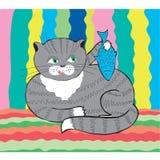Katze mit Fischen stock abbildung