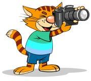 Katze mit Fotokamera stock abbildung