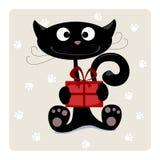 Katze mit Geschenk Lizenzfreie Stockfotos