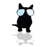 Katze mit Glasillustrationsschattenbild Lizenzfreie Stockbilder