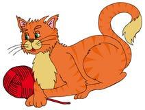 Katze mit Kugel Lizenzfreie Stockfotos