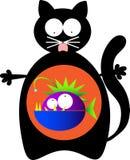 Katze mit Monsterfischen nach innen Lizenzfreie Stockfotografie