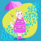 Katze mit Regenschirm Lizenzfreies Stockfoto