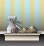 Katze mit Sänfte-Kasten-Grafik lizenzfreie abbildung
