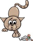Katze mit Spielzeugmäusekarikaturillustration Stockfotos
