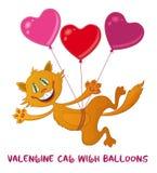 Katze mit Valentine Heart Balloons Lizenzfreie Stockfotografie