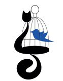 Katze mit Vogel Stockbild